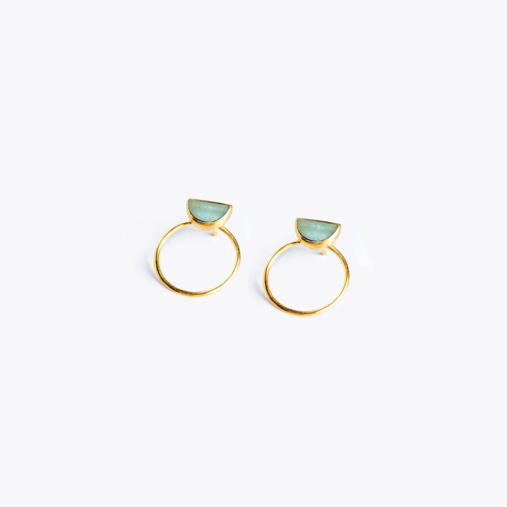 Wanderlust Life Sunburst Halo Amazonite Earrings
