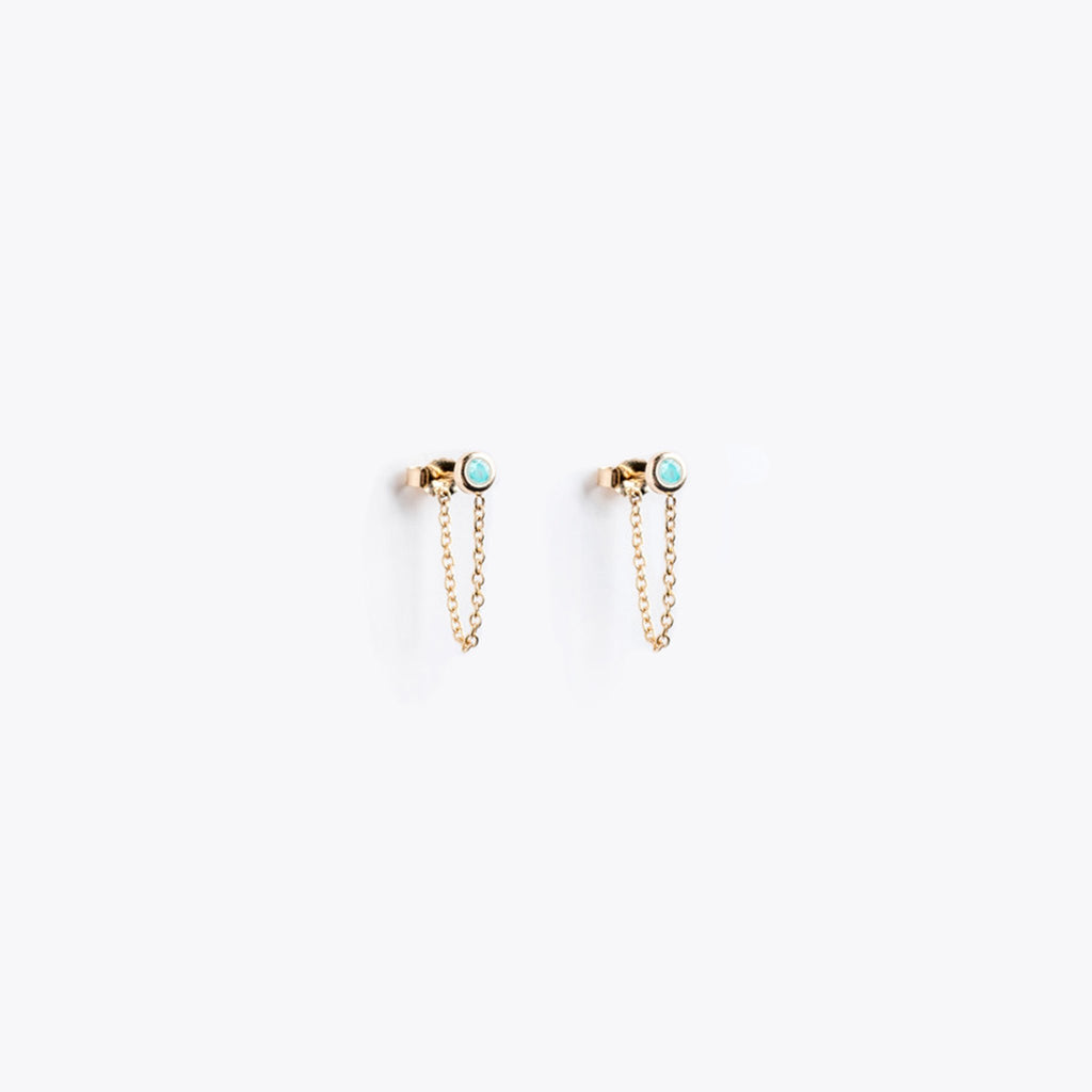 Wanderlust Life Amazonite Satellite Gold Chain Stud Earrings