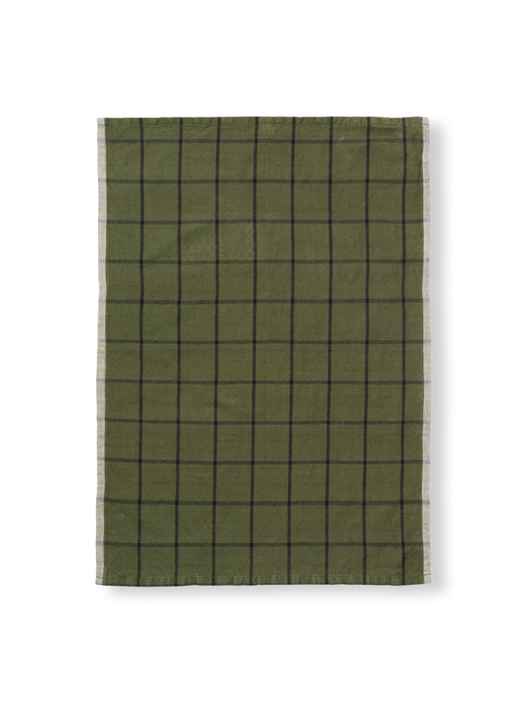 Ferm Living Hale Tea Towel: Green/ Black