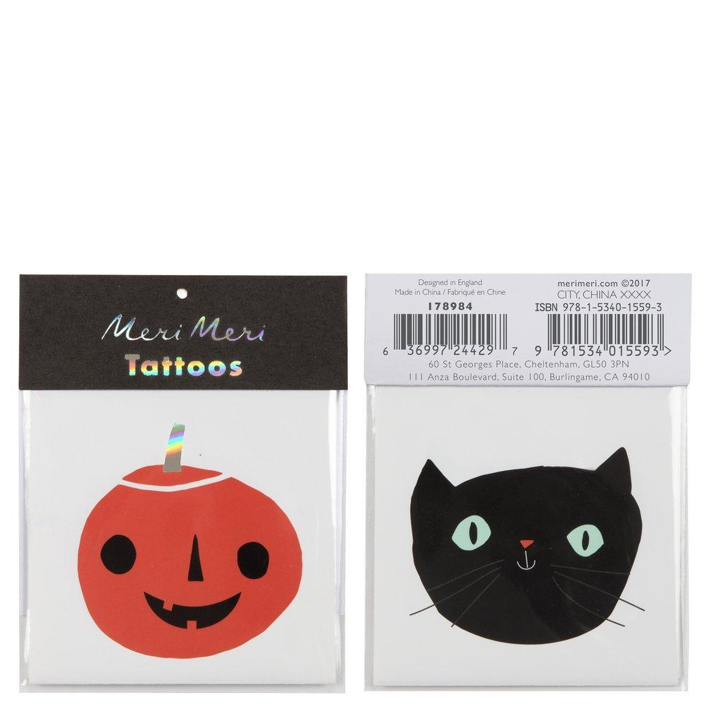 Meri Meri Halloween Tattoos: Cat And Pumpkin