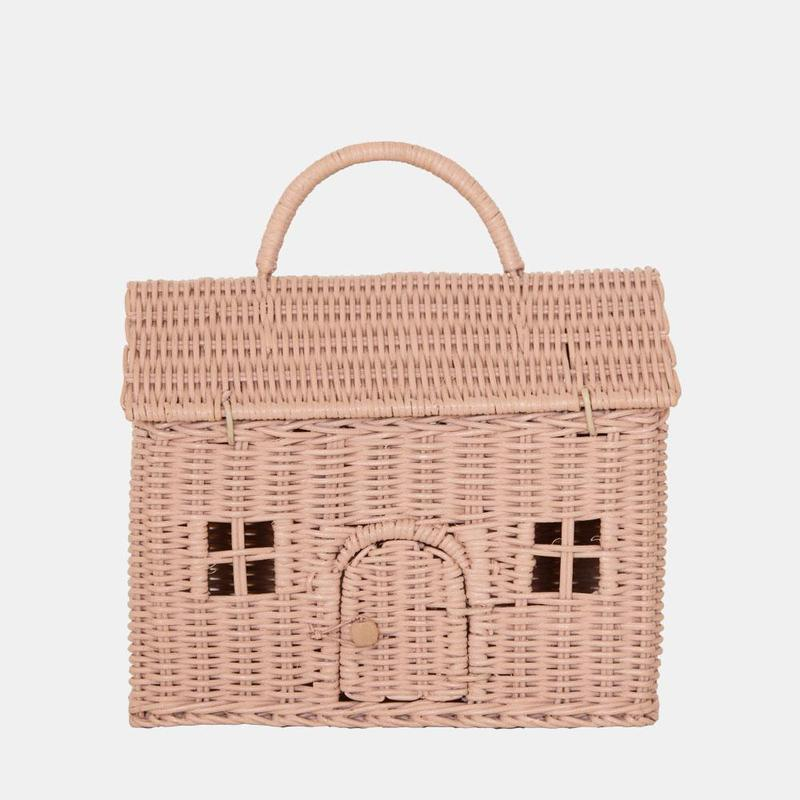 Olli Ella Casa Straw Clutch Bag Rose