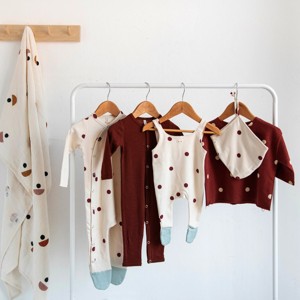Organic Zoo Burgundy Dots Dungaree