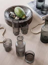 Ferm Living Ripple Long Glasses Smoked Grey