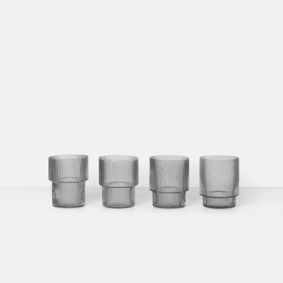 Ferm Living Ripple Glass Smoked Grey Set of 4