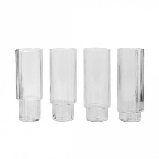 Ferm Living Ripple Long Glasses Set of 4