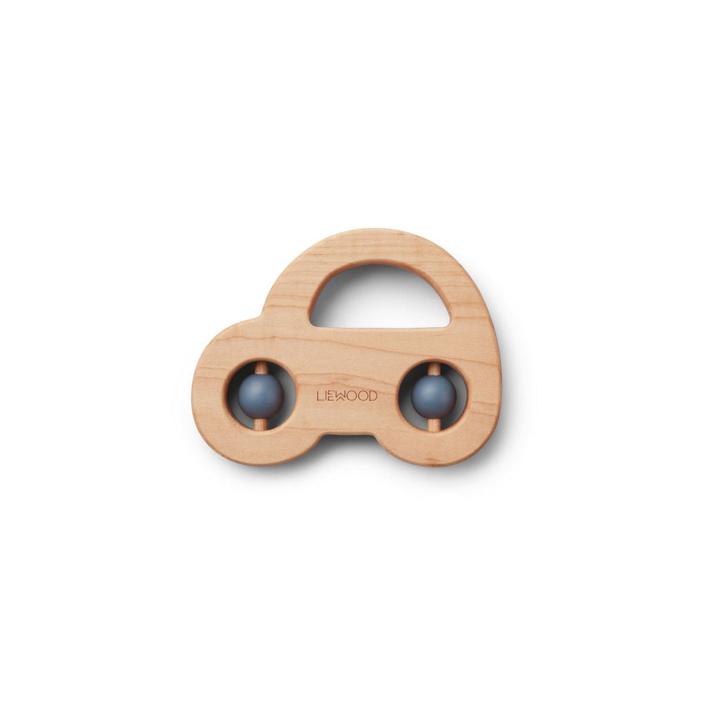 Liewood Wood Teether Car Blue Wave