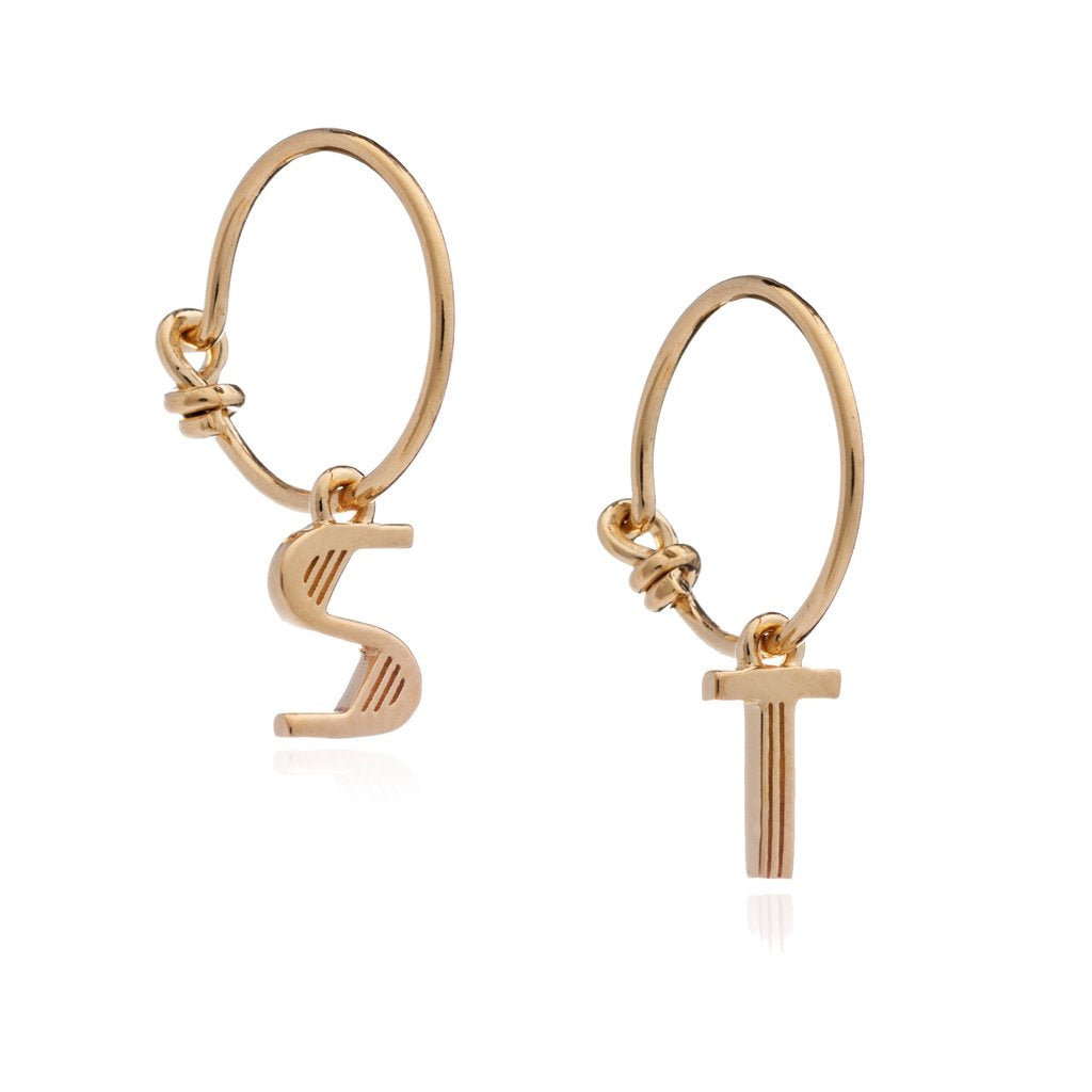 Rachel Jackson Initial Earrings - Gold