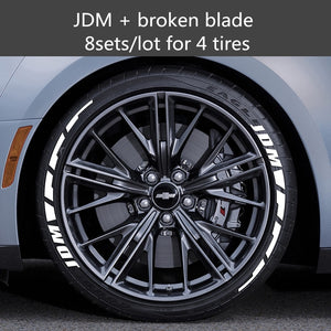 White Rubber Letters Tire Stickers Car Tuning Decals 3D Logo