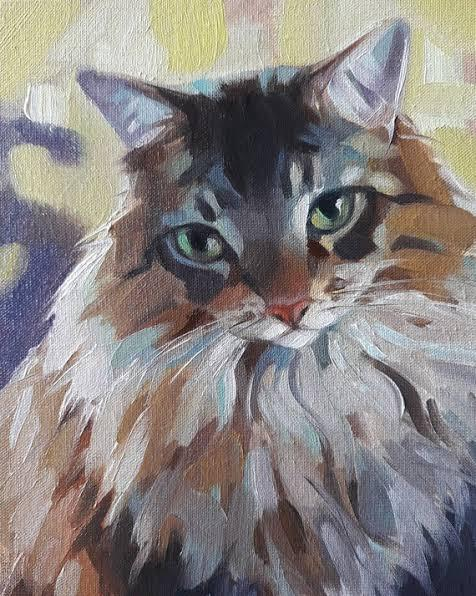cat acrylic painting from photo
