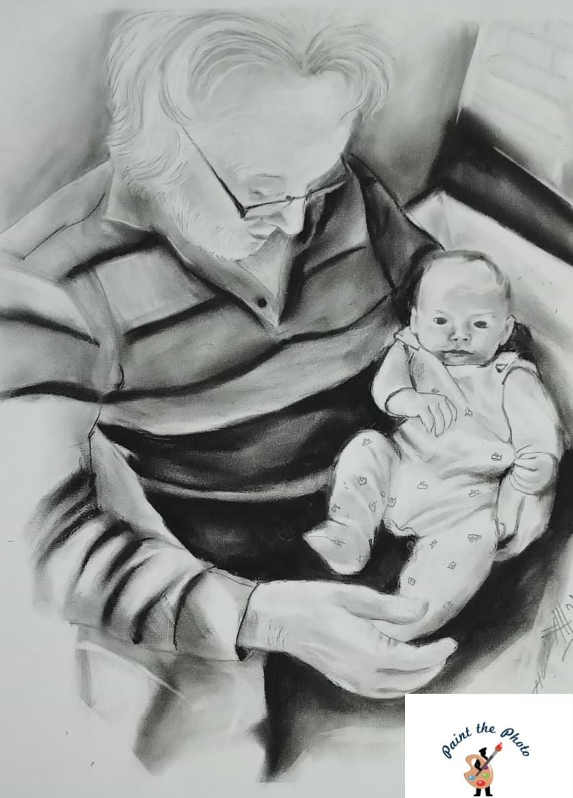 grandfather charcoal sketch with baby