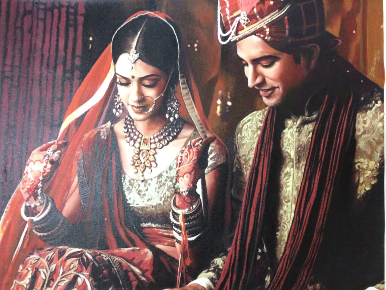 Couple wedding oil painting from photo