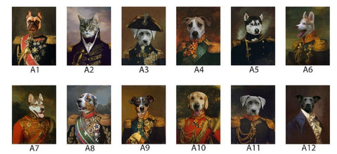 "Digital Custom Pet Portraits in Renaissance & Modern style-  Printed on stretched Canvas 18""x 24"""