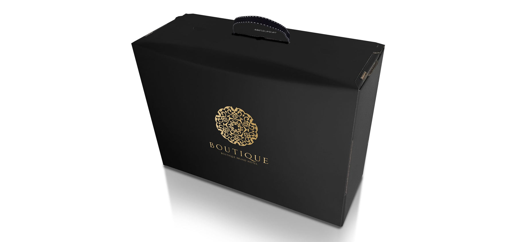 High end luxury packaging for premium brands. Gold embossed on silk black, with cotton carry handle and unique fifth corner design. Manufactured in the UK