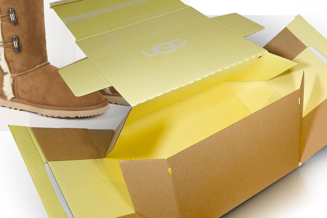 Bespoke packaging cardboard boxes for shoes and boots - UGG boots by Deckers postal packaging for UGG boots Packaging custom printed for UGG boots by Deckers