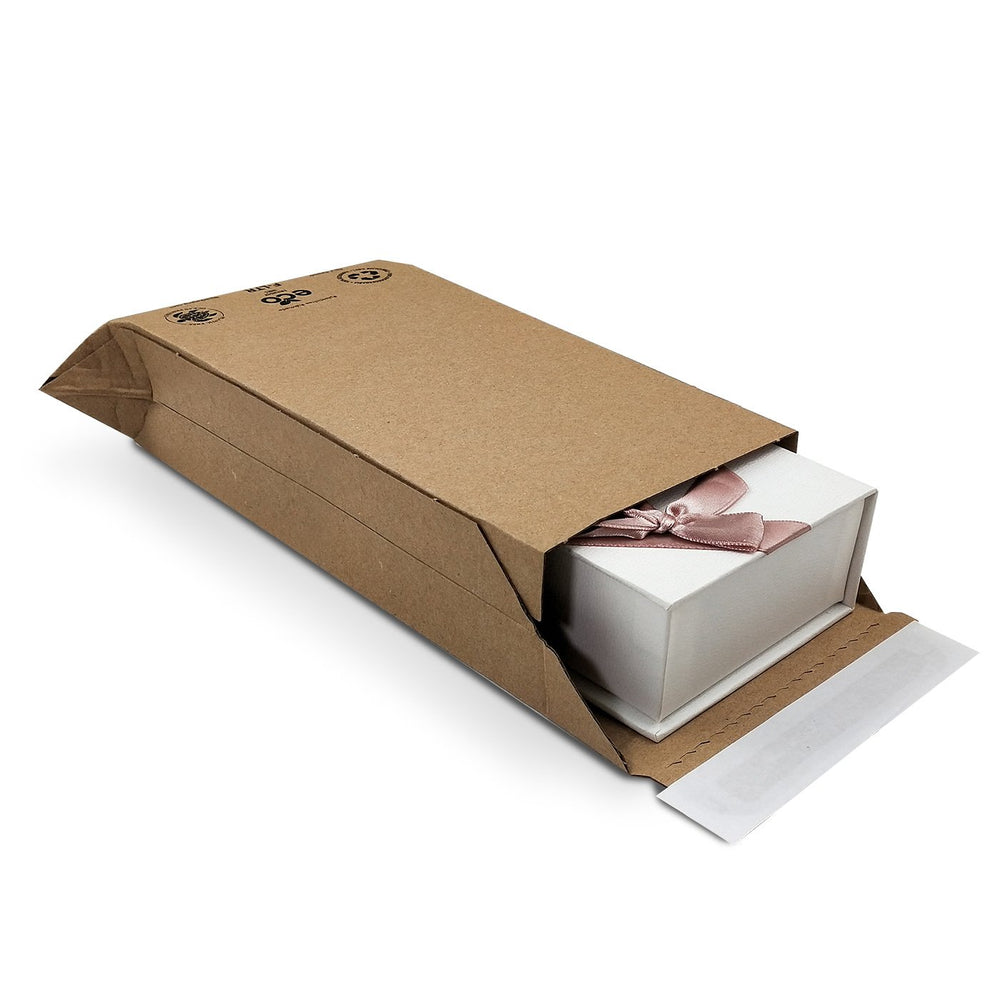 corrugated cardboard shipping wallets with expanding sides - eco friendly alternative to jiffy bags