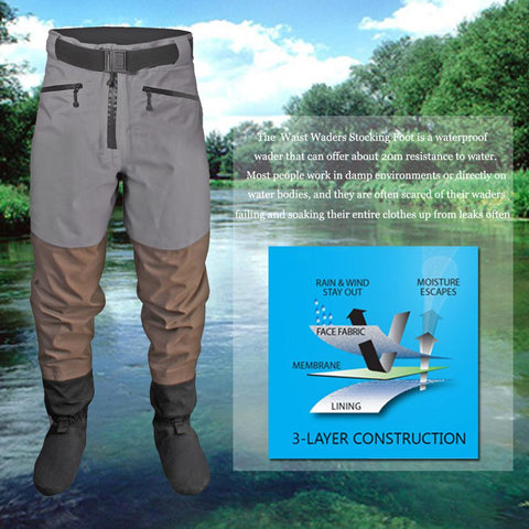 Men Breathable Stockingfoot Waterproof Waist High Pant Wader for Fishing Hunting Trousers