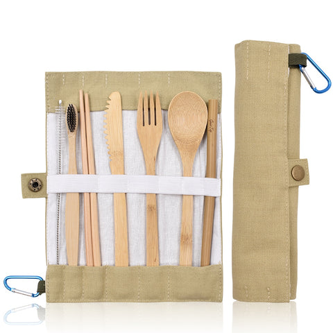 GEERTOP Camping Utensils Set Bamboo Utensils Eco Friendly Flatware Travel Utensil Set Portable Utensils Set Camp Outdoor Hiking