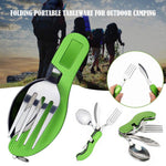 4 in 1 Outdoor Tableware Stainless Steel Camping Folding Tableware Kits with Knife/Fork/Spoon/Bottle Opener for Hiking Survival