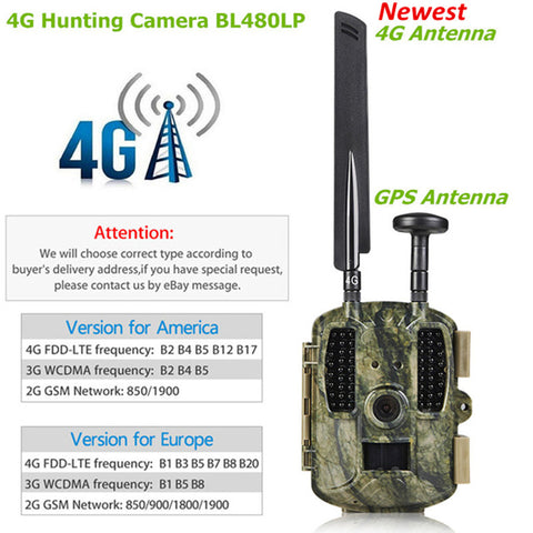 4G Hunting Cameras Scout Wild Camera Photo-traps GPS/Email/MMS/FTP/GSM 3000mAh External Solar Charger Panel Power Camera 4G