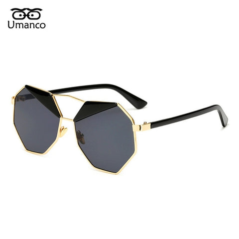 Umanco Vintage Metal Polygonal Eyebrows Sunglasses Men Women Dazzling Gradient Eyewear Driving Goggles Unique Pilot Glasses