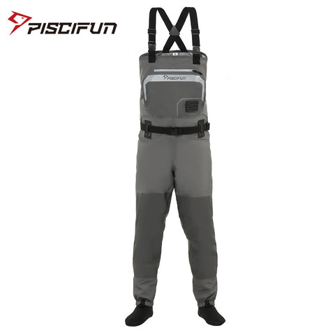 Piscifun Fishing Waders 3-Layer Polyester Breathable Waterproof Stocking Foot Fly Fishing Chest Waders Pants