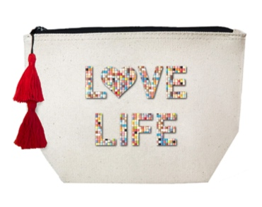 Love Life Confetti Beaded Cosmetic Case