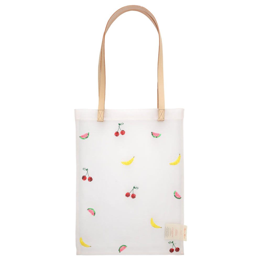 Sequin Fruit Mesh Tote Bag