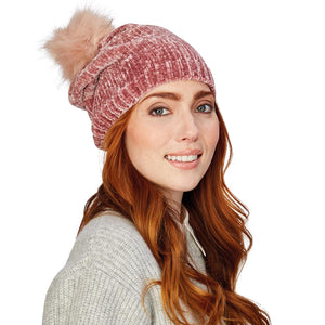 Chenille Hat with Faux Fur Pom Pom