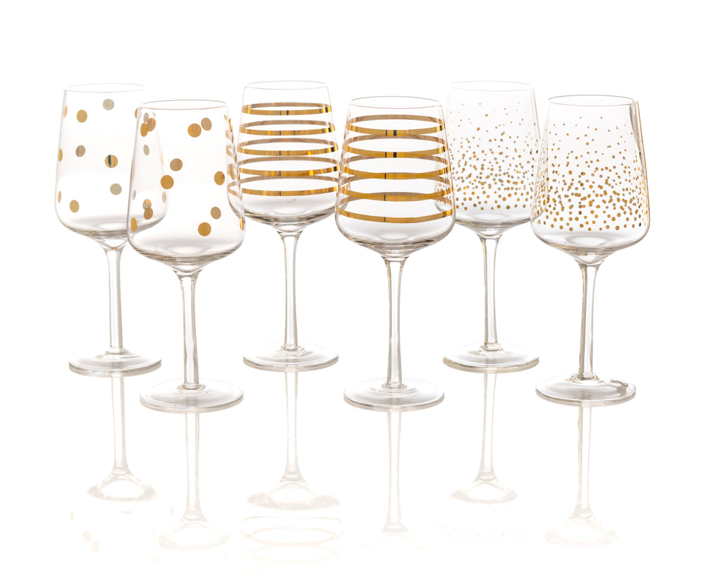 Set of 6 Assorted Gold Detailed Wine Glasses