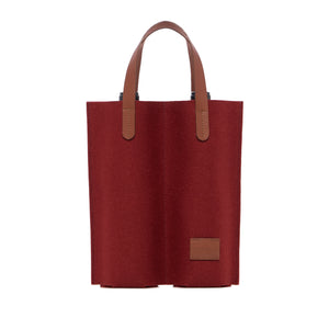 Cozy Carrier Duo - Rosewood Felt Natural Leather