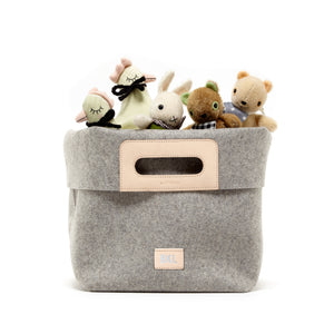 Korb Tote Bin Granite Felt Natual Leather