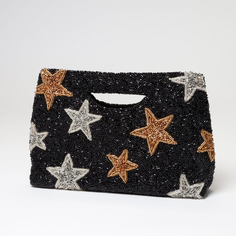 Star Beaded Cut Out Handle Clutch