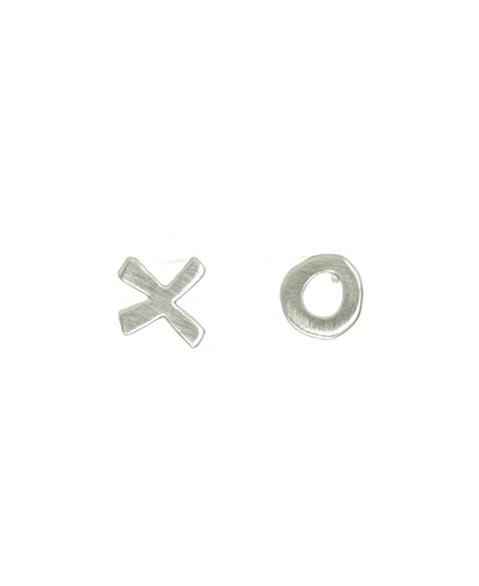 X & O Silver Stud Earrings