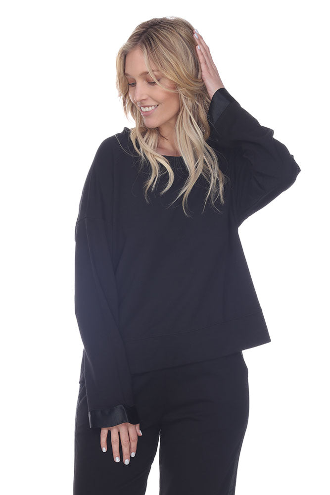 Izzy French Terry Sweatshirt With Satin Cuffs