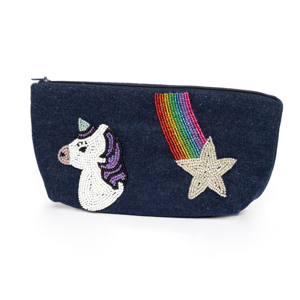 Unicorn Denim Zip Pouch
