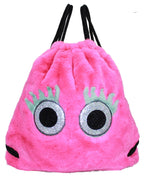 Glitter Eye Furry Drawstring Backpack