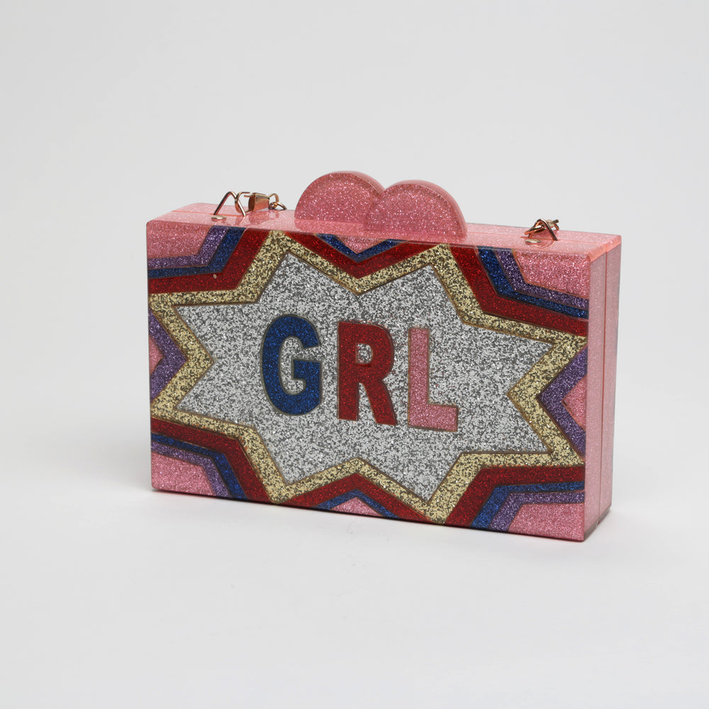 "Sparkle ""Girl Power"" Lucite Clutch"