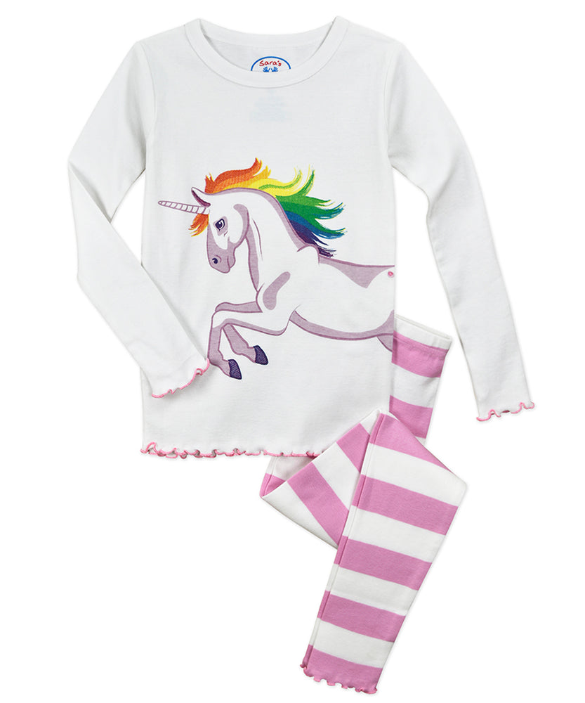 Pink Striped Unicorn Long Pajamas