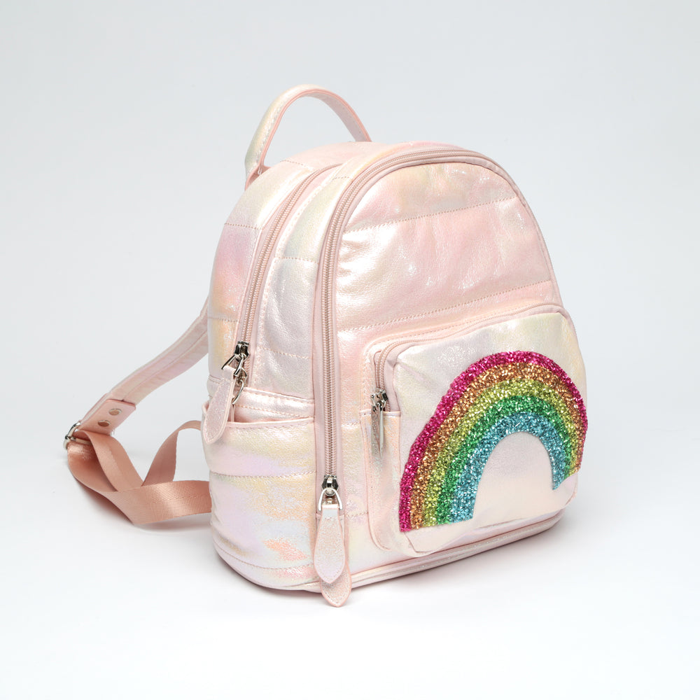 Galaxy Mini Puffy Backpack with Glitter Rainbow