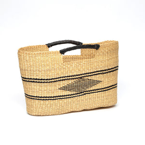Handmade Basket Tote with Leather Handles