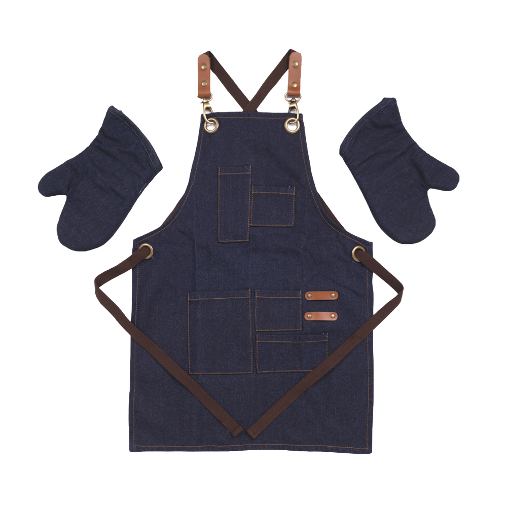 Adult Denim Apron with Matching Oven Mitts