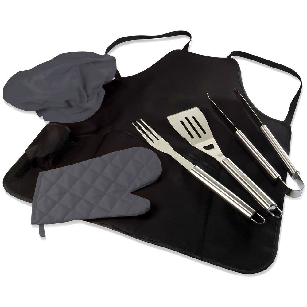 Apron Tote Pro w/Brushed Steel BBQ Tools