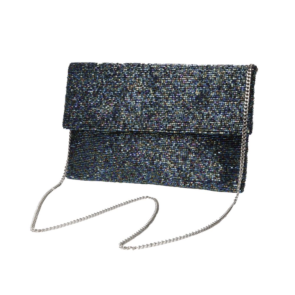 Beaded Half Flap Clutch with Chain Strap