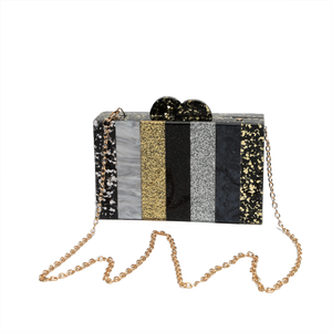 Black and Gold Sparkle Stripe Lucite Clutch