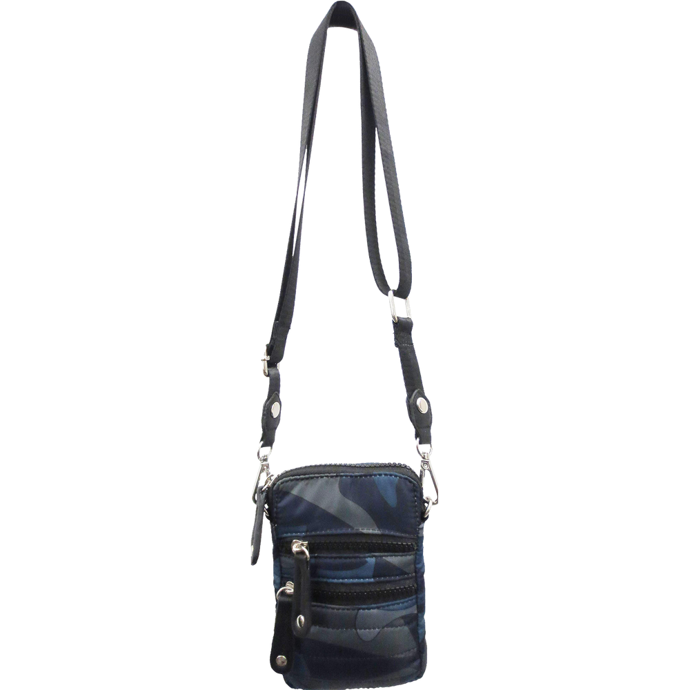 Camo Quilted Cellphone Crossbody Bag