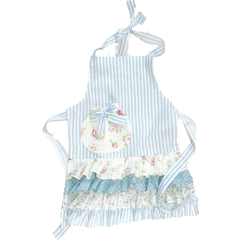 Children's Blue Stripe and Floral Apron