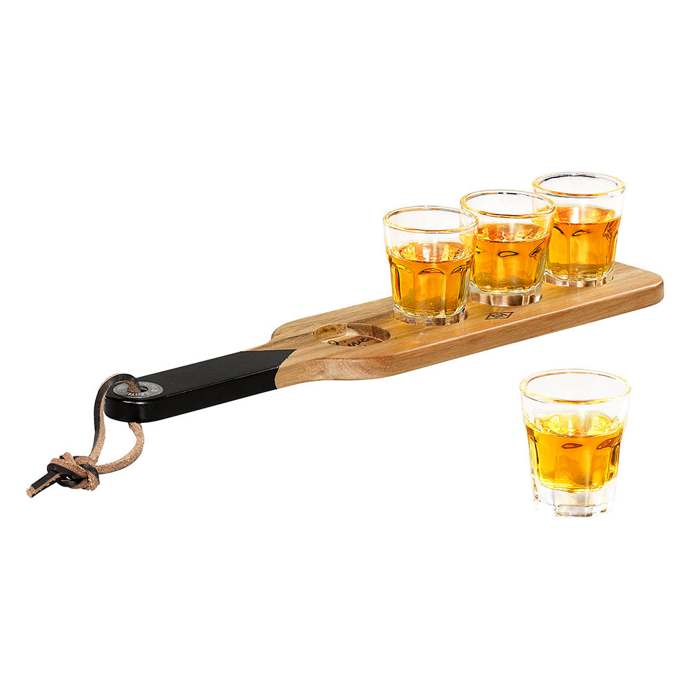 Serving Paddle and Shot Glasses