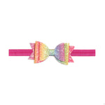 Rainbow Glitter Bow Soft Headband