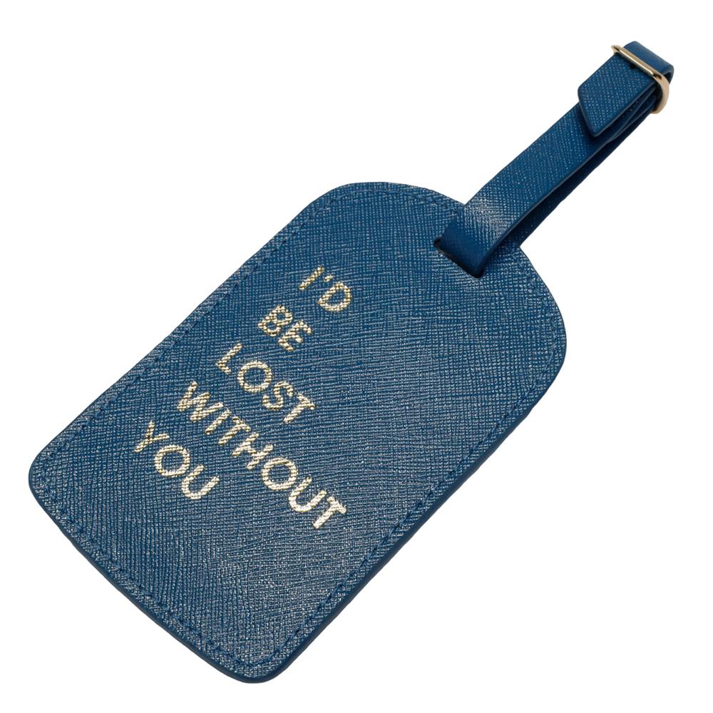 """I'd be Lost Without You"" Amelia Leather Luggage Tag"
