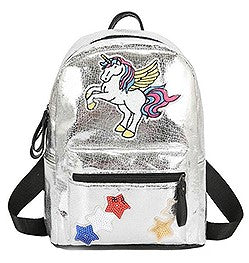 Mini Unicorn and Stars Metallic Backpack